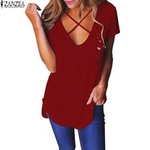 ZANZEA Womens Cotton Short Sleeve V Neck T-shirt Casual Female Hole Hollow Out Basic Plain Tops Lace Up Tee Shirts Blusas