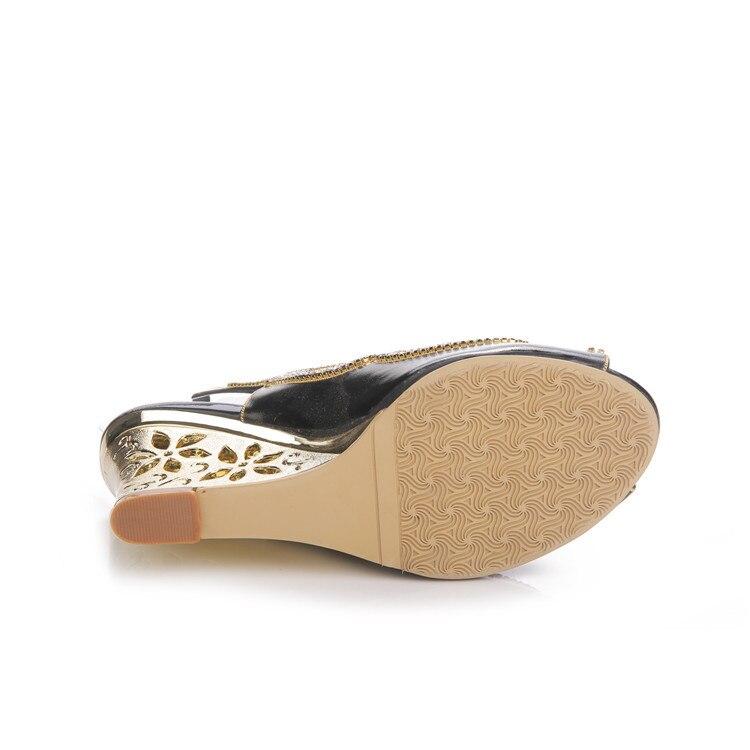 2017 Summer New Diamond Fashion Womens Black Peep Toe Wedges Bridal Sandals Wedding Shoes High Heels Cause Footwear-11
