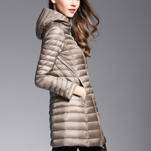 2017 Woman Spring Padded Hooded Long Jacket White Duck Down Female Overcoat Ultra Light Slim Solid Jackets Coat Portable Parkas