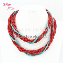 Long Style Design Red Coral Necklace,nigerian wedding african beads Coral Jewelry Necklace Bridesmaid Gift BL0056(China)
