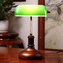 Vintage Wooden Green Glass table Lamp chinese style bedroom bedside lamps living room office Study room antique green Desk Lamp(China)