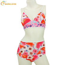 2017 Summer Full Cup Patchwork Sexy Biquini Strappy Push Up Ladies Bikini Set High Waist Swimwear Bathing Suits Beach Wear