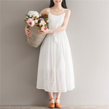Dresses Embroidery Floral Tassel Sleeveless Spaghetti Strap Dress Cotton cloth white dress female YL478(China)