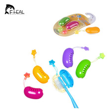 FHEAL 2pcs Cute Pea Shape Portable Toothbrush Head Cover Antibacterial Protective Toothbrush Holder Practical Tooth brush Case(China)