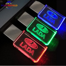 Flash Disk LADA New Crystal Car Logo 16GB Flash Drive 2.0 USB Memory Drive Creative 32GB LED Light Pen Drive 8GB with 3 Colors