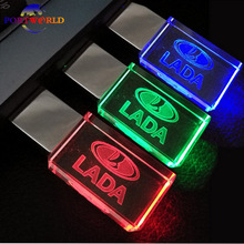 USB LADA New Crystal Car Logo 16GB Flash Drive 2.0 USB Memory Drive Creative 32GB LED Light Flash Disk 8GB with 3 Colors