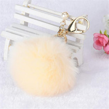 HOT Brand Fashion Rabbit Fur Ball Keychain Bag Plush Car Key Ring Car Key Pendant