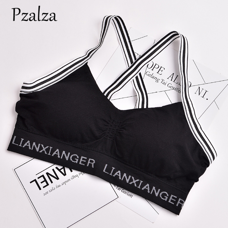 Pzalza Women Tank Top Fashion Letter Fitness Tank Top Cross Straps Backless Ladies Casual Workout Bra Top