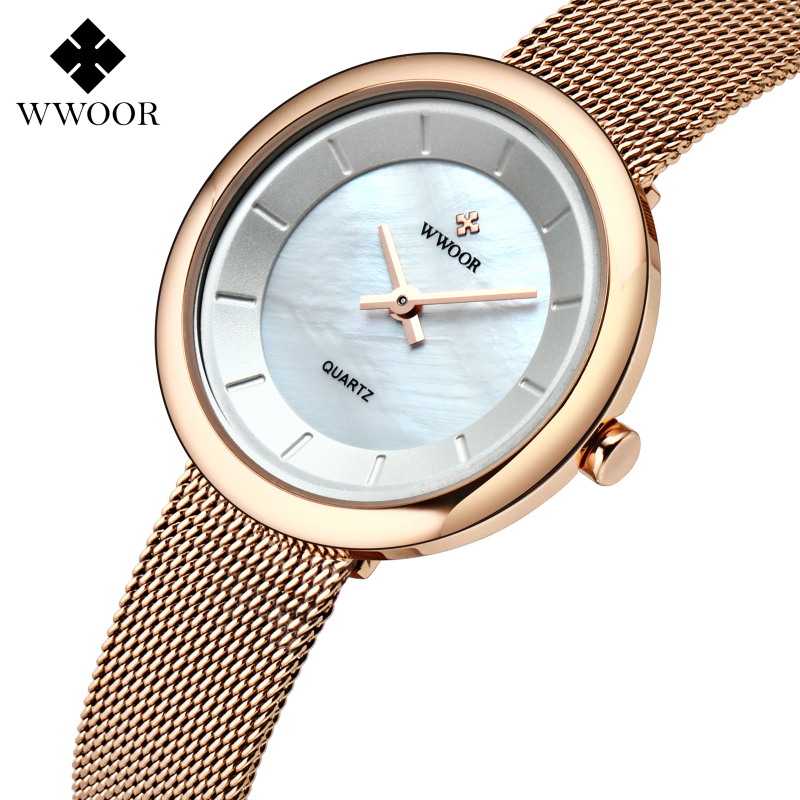 Top Brand WWOOR Fashion Women Quartz Watch Luxury Bracelet Watches with Fine Alloy Strap Women Ultra-thin Casual Dress Watches<br><br>Aliexpress