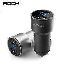 ROCK H2 Dual USB Car Charger Digital LED Display 5V 3.4A Aluminium Fast Charging Voltage Monitoring iPhone Samsung Xiaomi