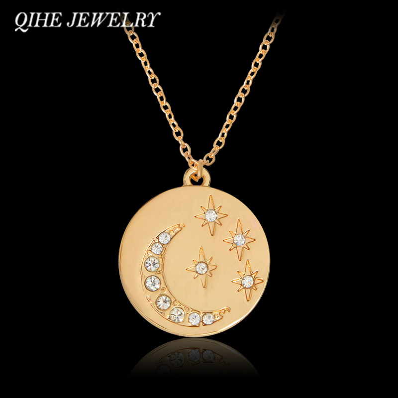 QIHE JEWELRY Starburst Moon & Star Mini Disk Pendant Necklace Gold Rose Gold Color Jewelry For Women Moon And Star Jewelry(China (Mainland))