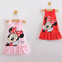 New2016 Baby Girl Summer Dress Girls Minnie Mouse Pink Red Dress Girl's Casual Fashion kids clothing Party Dress(China)