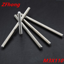 20PCS thread rod M3*110 stainless steel 304 thread bar