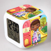 Doc Mcstuffins LED Alarm Clocks Snooze reloj despertador thermometer 7 Color Flash Touch Lighting Up Digital Clock Watch Toys(China)