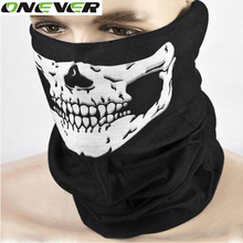 Ghost Skull Black Motorcycle Face Mask Motorbike Neck Headwear Outdoor Scarf Ski Headband Halloween Mask for Bike Motor Cycling