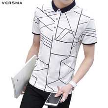 VERSMA Summer Slim Fit Striped Polo Shirt Men Fashion Casual Geometric Brand Polo Short Sleeve Style Mens Designer Polo Shirts