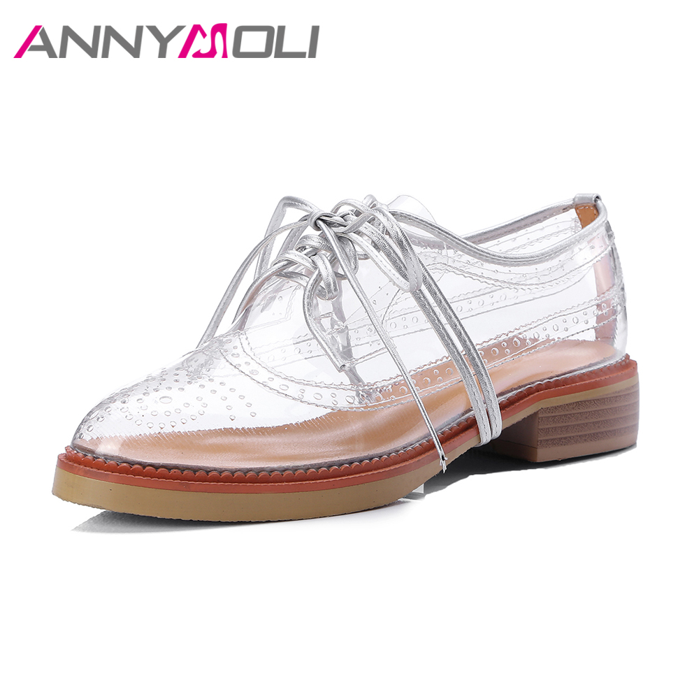 ANNYMOLI 2018 Shoes Women Cut Out Derby Shoes Brogue Shoes Lace Up Transparent Flat Footwear Spring Summer Flats zapatos mujer<br>