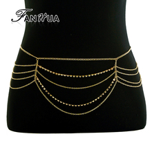 FANHUA Sex Body Chain Belly Chains Gold Color Multi Layer Chain with Rhinestone Body Jewelry Boho Chic Fashion Women Accessories