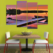 Wall For Living Room Nordic Decor 4 Panel Ocean Sunset HD Printed Bridge New Art Canvas Painting Cuadros Modular Picture Poster(China)
