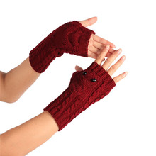 1Pair Winter Wrist Arm Hand Warmer Knitted Long Fingerless Gloves Have eye owl Mitten