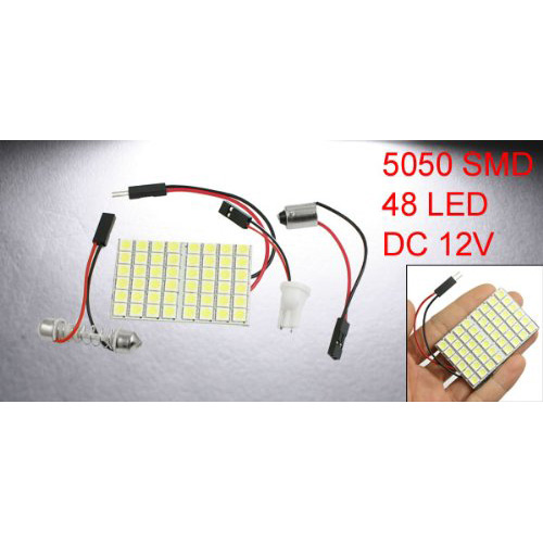TOYL  Vehicle White 48 LED Panel 5050 SMD Dome Light + T10 BA9S Festoon Adapter<br>