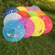 Free shipping 5pcs/lot hand-painted flower design 12colors Chinese art umbrella bamboo frame silk parasol for bride & bridemaid