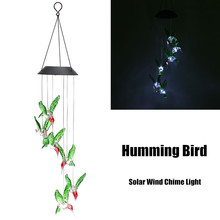 Solar Power Humming Bird LED Solar Light Lighted Yard Led Outdoor Light Garden Path Decoration Wind Chime Lamp White(China)