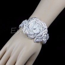 Lady White Solid Silver Plated Carve Flower Leaf Cuff Bracelet Bangle Jewellery(China)