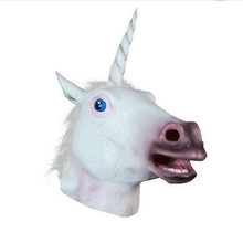Halloween unicorn head Mask Cosplay Adult Animal latex hood tricky God Horse Fetish Mask Christmas Carnival Rave party Costume