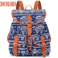 Sansarya New 2017 School Bag Bohemian Vintage Women Backpack Drawstring Printing Canvas Bagpack Sac a Dos Femme Rucksack Female(China)