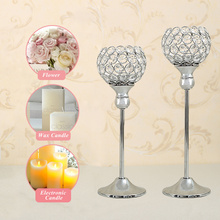 Crystal Candle Holders Set Metal Silver Candlestick Wedding Candle Stand Centerpieces Christmas Home Decoration Candelabra(China)