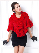 high quality female knitting rabbit fur shawl weeding wrap lady cape natural grey red white black thick fashion style CW3290