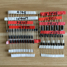 Electronic Components Package,Diode Assorted Kit 1N4148 1N4007 1N5819 1N5399 1N5408 1N5822 FR107 FR207,8 value=100pcs(China)