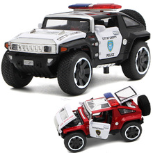 1/32 Scale Hummer Police Diecast Vehicles Model Cars Toys With Openable Doors Pull Back Function Light Music For Boys Gifts