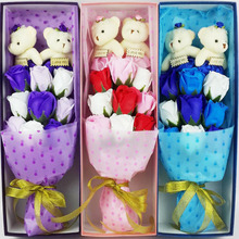 2017Mother's Day 9PCS Rose Flower Soap with 2 Bear Gift Box Bubble Bath Petals Decorative Flowers and Wreaths For Wedding Gifts(China)