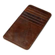 Genuine Leather Credit Card Holder Vintage 12 Card Slots Men Cardholder Wallet For Cards Organizer Case To Protect Credit Cards(China)