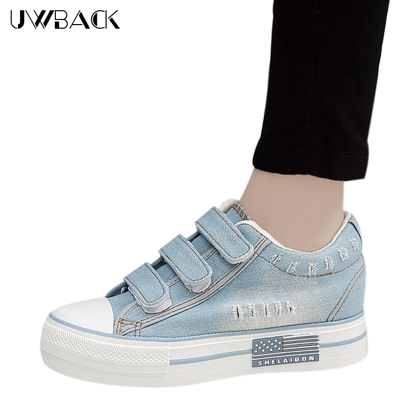 2017 New Brand Spring Women Jeans Canvas Plus Size Hook&amp;Loop Flat Platform Casual Shoes Mujer Washed&amp;Hole Denim Shoes XJ223 <br><br>Aliexpress