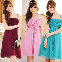 F-3XL New Summer Charming Sexy 3D Flower Plus Size Wedding Ribbon Pleat Chiffon Dinner Bridal Cocktail Party Fiesta Short Dress(China)