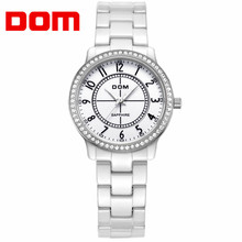 DOM Fashion Women Dress Luxury Wrist Watch All Match Clothes Lady Ceremic Strap Quartz Watches 2017 Gift relogio feminino JYL(China)