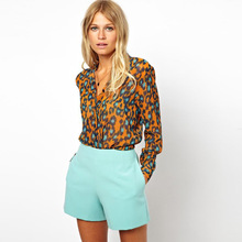 Autumn New Arrived Orange Leopard Shirt Women's Chiffon Lapel Long Sleeved Shirt Leopard printing Blouse Clearance Price S-XL(China)