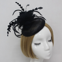 Ladies fascinators black/cream  flower feather sinamay hats women hair accessories elegant fascinators for party and races