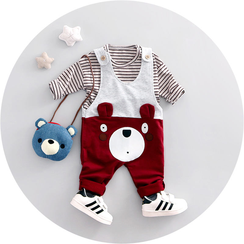 2017 Spring New fashion baby boy clothes cotton material o-neck full sleeve overall bear boys clothing set A026<br><br>Aliexpress