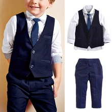 New Arrival Boys Gentleman Clothes Baby Infant Outfits Newborns Clothing Wedding Formal Suits Vest & Shirt & Tie & Pants