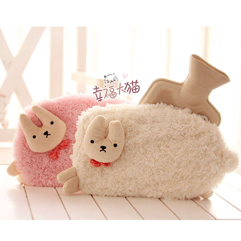 Cute sheep Bunny doll warm hot water bag, cartoon Plush warm hot water bottle sets, including water filling tank<br><br>Aliexpress