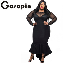 Gosopin Plus Size Women Sexy Clubwear Dress Black Mermaid High Low Maxi Ladies Formal Autumn Dresses XXL Party Long Sleeve 61086(China)