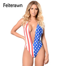 Feiterawn Female American Flag Print Daring Plunge Swimwear Summer One piece Swimsuit Multicolor Biquini Sexy Beachwear DL32142(China)