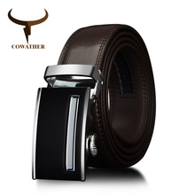 COWATHER cow Genuine Leather men Belts 2017 Automatic Buckle black brown strap for male Fashion waist 30-42 length 110-130cm(China)