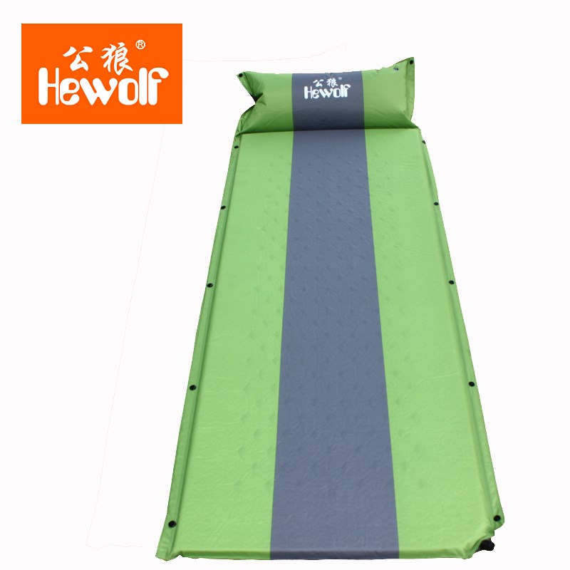 Hewolf Memory Sponge Camping Mat With Pillow Portable Beach Mat Self-Inflating Moistureproof Picnic Mattress<br>