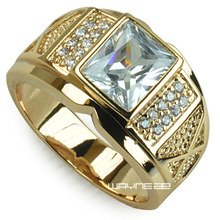 Men Gold Filled Ring Clear Zirconia Cubic Size 8-15  r206