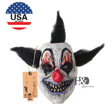 US Full Face Scary Clown Latax Mask Black Hair Horror Masquerade Adult Ghost Party Mask Halloween Props Costumes Fancy Dress(China)